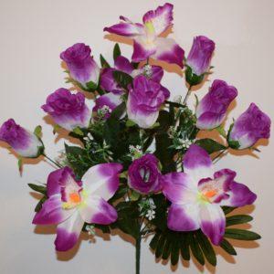 Роза бутон с орхидеей 12-ка непрес БО-150