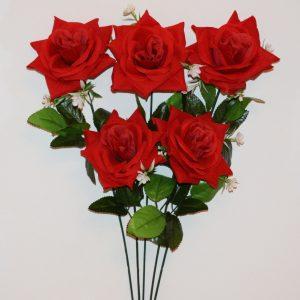 Ветка Роза бархатная крупная с пластмаской не прес ВЕ-55