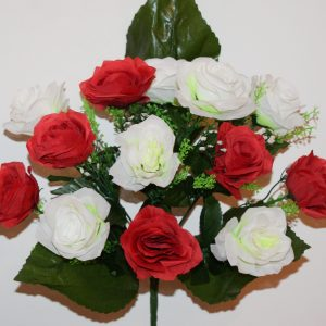 Роза красно-белая с кашкой 13-ка СР-337