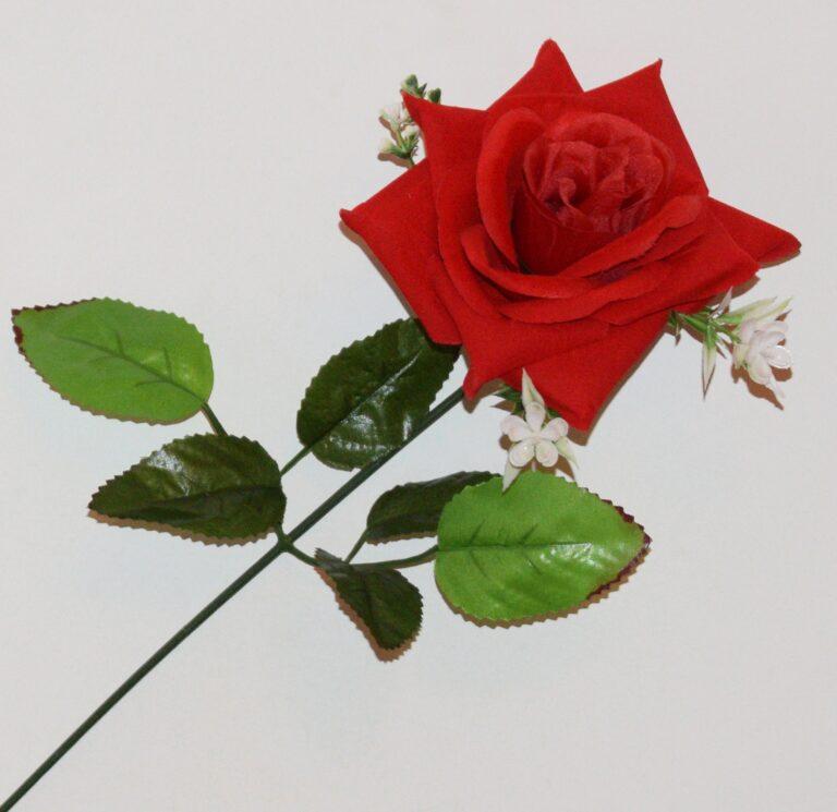 Ветка Роза бархат с пластмаской ВЕ-58